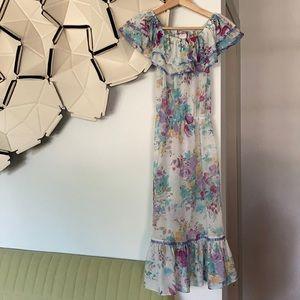 Vintage dress Small floral sheer cold shoulder